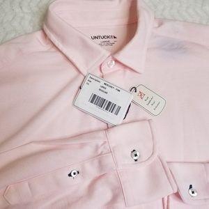 UNTUCKit Large Pink Mercurey Button Front Shirt